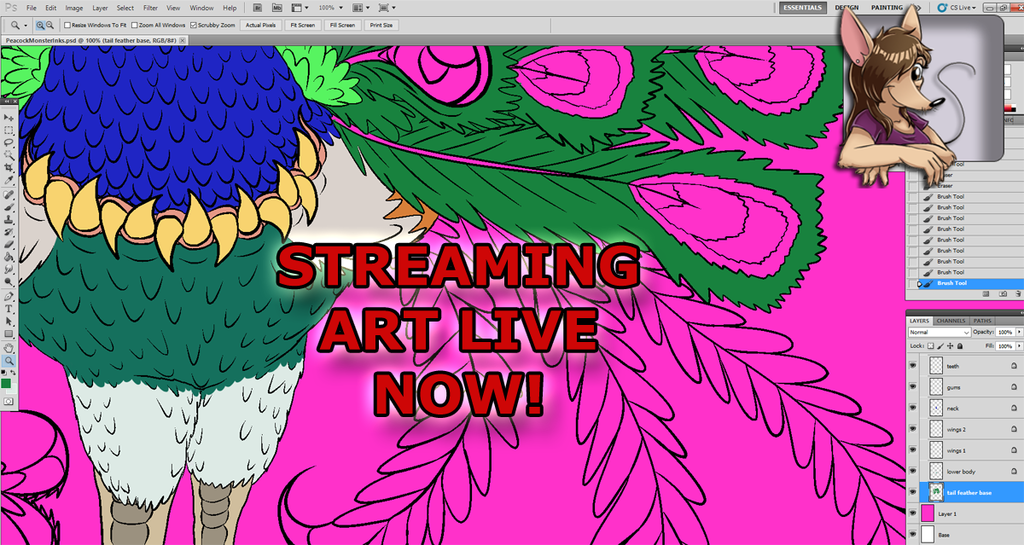ART STREAM Flat Colors Continued for Video Game Monster: Peacock