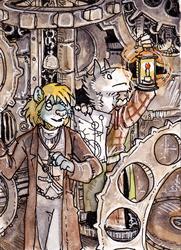 Weasyl 100 Watchers - Steampunk hijinks!