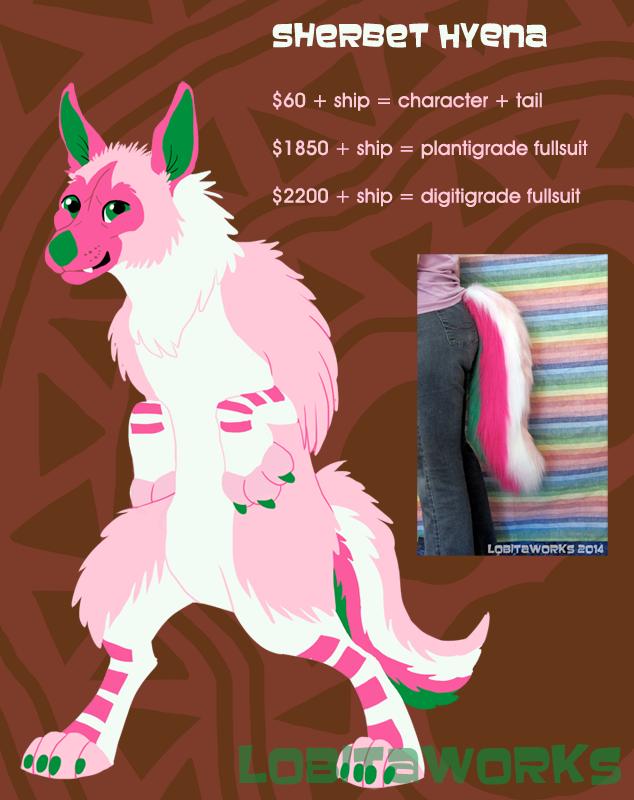 Sherbet Hyena Design + Tail for Sale