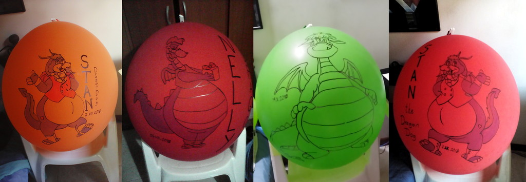 "Dragons on Tuftex 24"" balloons"