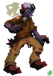 Eno the Deadbeat Hyena-Full bodied colored sketch
