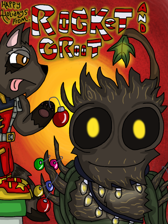 Most recent image: Happy Holidays from Rocket and Groot
