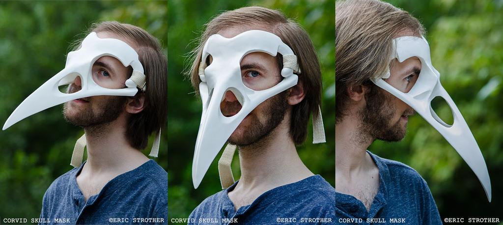 White Corvid Skull Mask