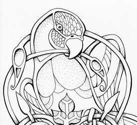 :Commission: Celtic parrot tattoo