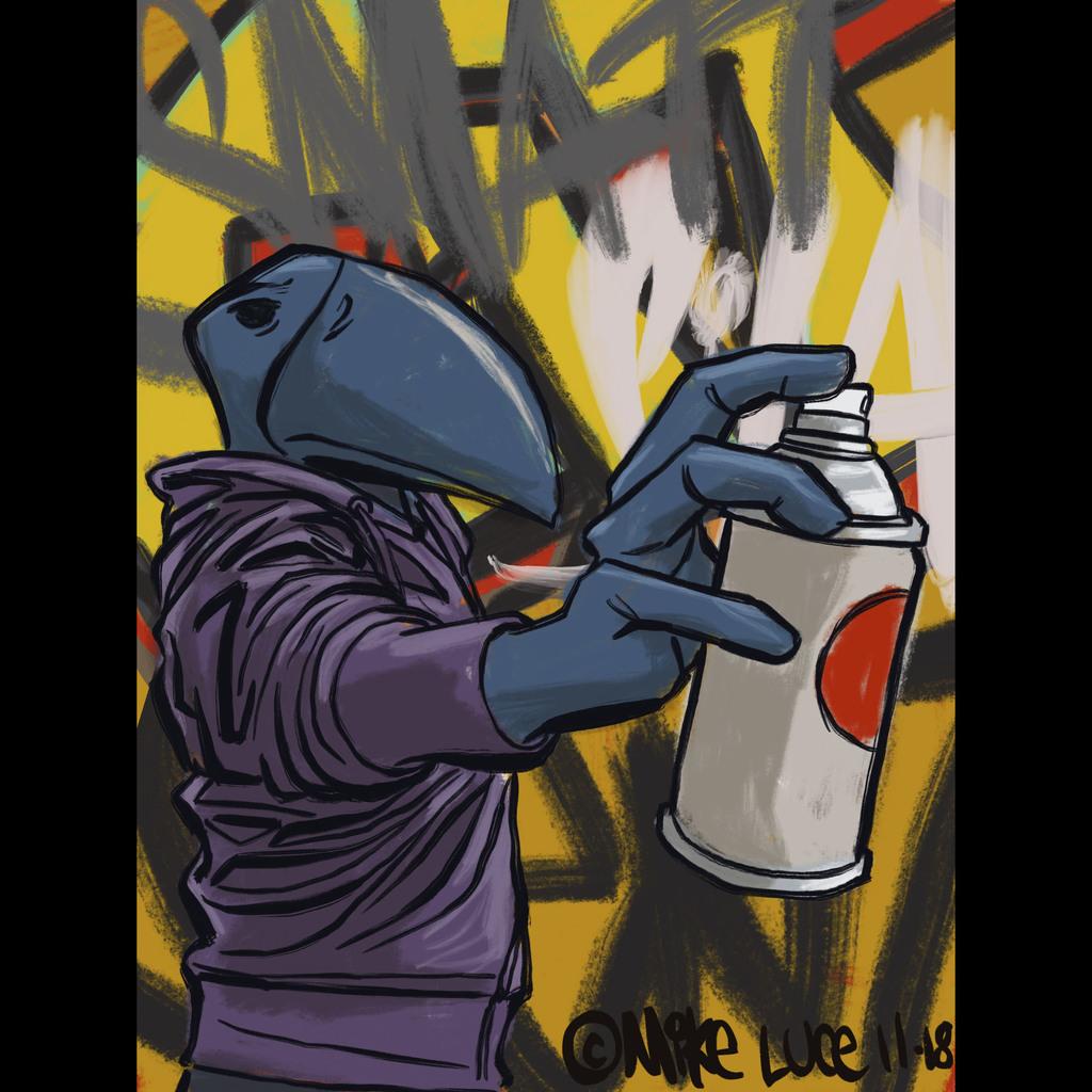 Most recent image: Silas sketch spray