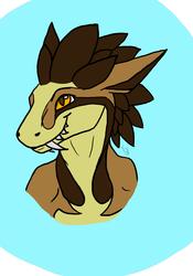 Akamu the Chaos Raptor headshot [commission]