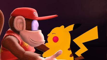 Diddy Kong Holding Pikachu