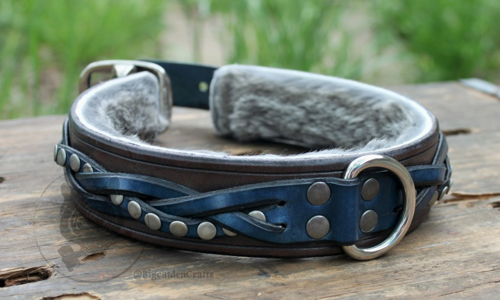 Grey & Blue, Studded, Braided Collar