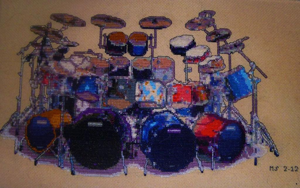 Drum Kit In Cross Stitch