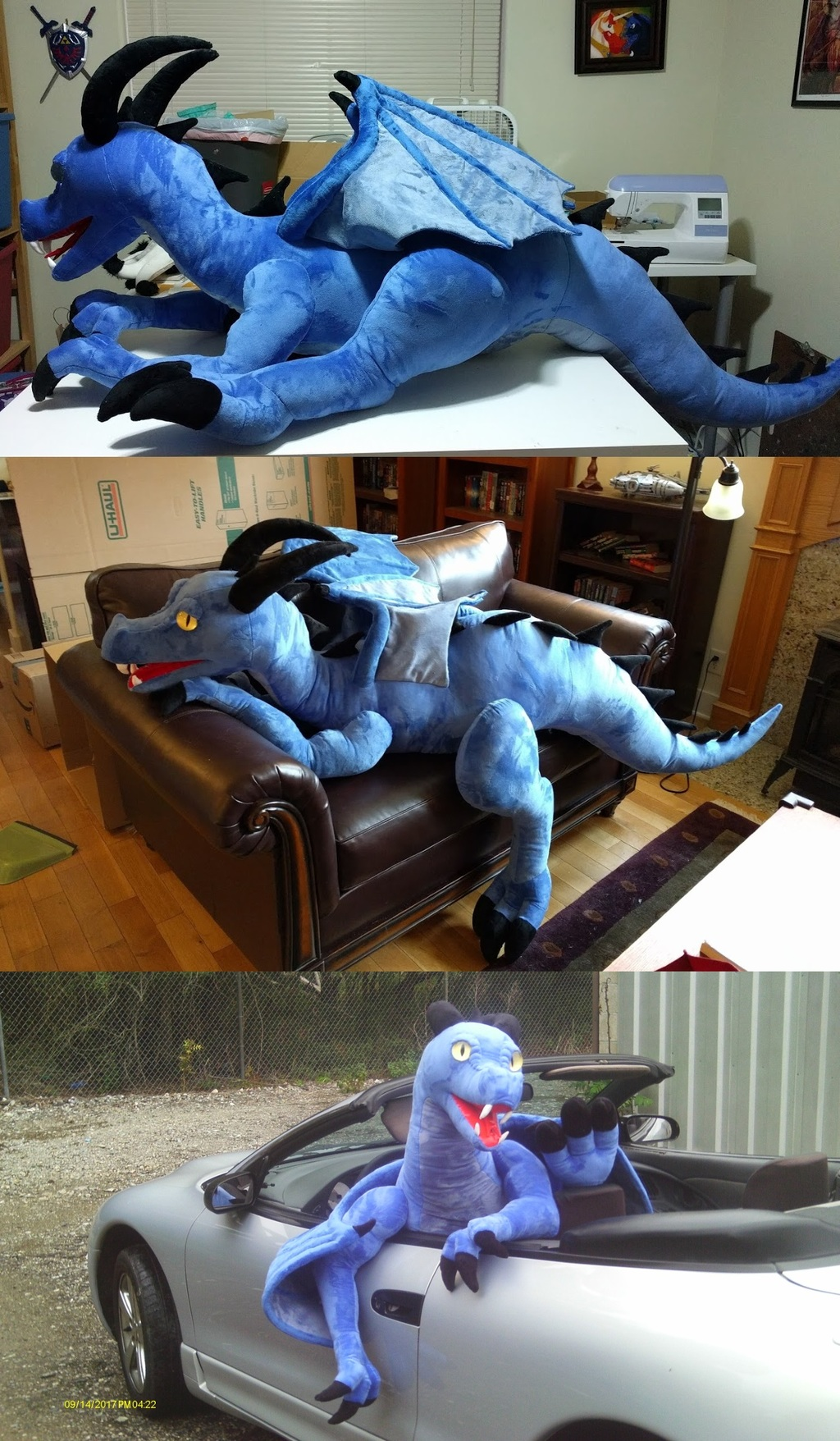 Most recent image: Giant blue dragon plush with joints.