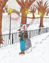 Yumi's snowy walk