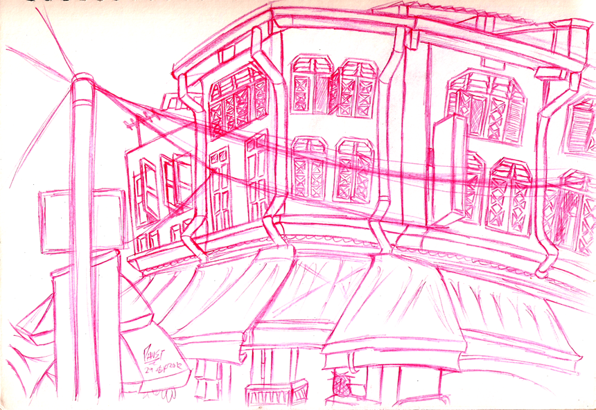 Urban Sketching - Shophouses and Windows
