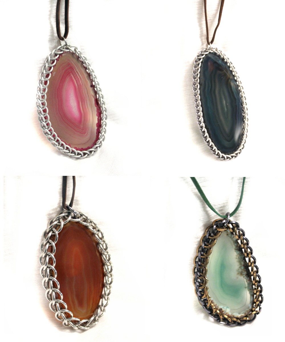 Chainmaille-Wrapped Agate Slices