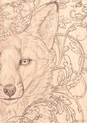 Fox on wood panel Sketch