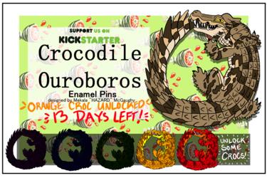 Crocodile Ouroboros Hard Enamel Pins! Orange Croc!