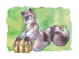 Raccoon treasure hunter