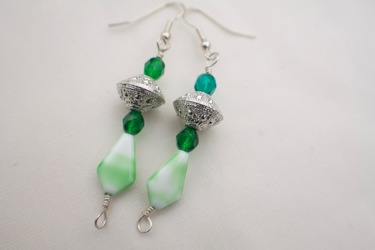 Green and Silver Earrings