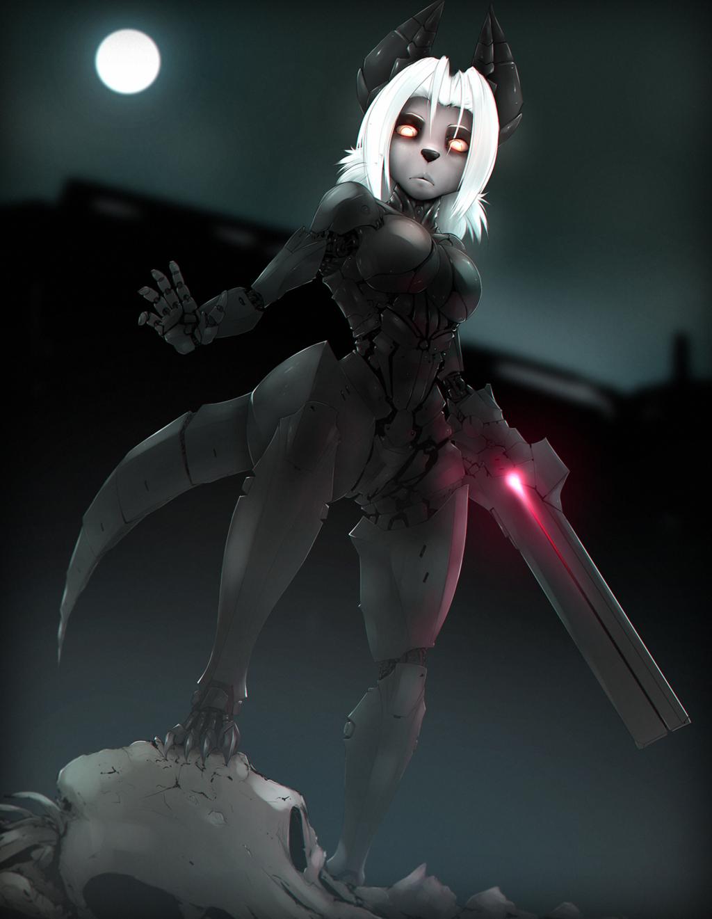 Most recent image: Cyborg jackal lady