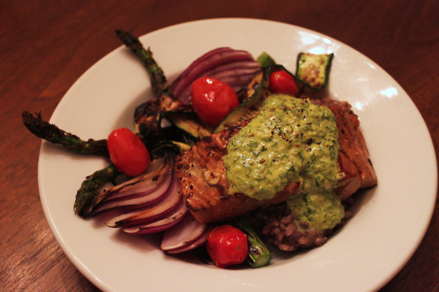 Grilled Salmon w/ Chermoulla sauce
