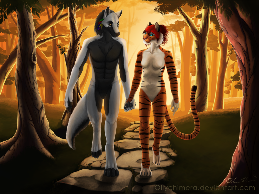 Commission - Wolfy and Teshy