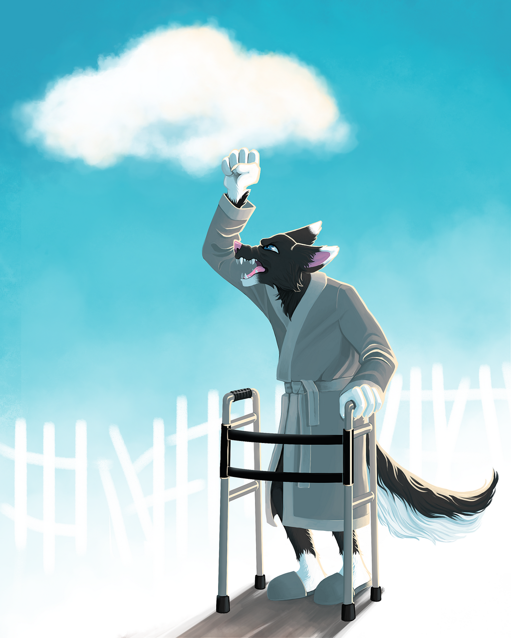 Most recent image: Old (young) wolf yells at clouds commission by jellopowderx