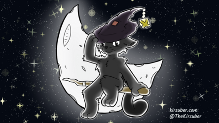 Witch Cat in the Moonlight