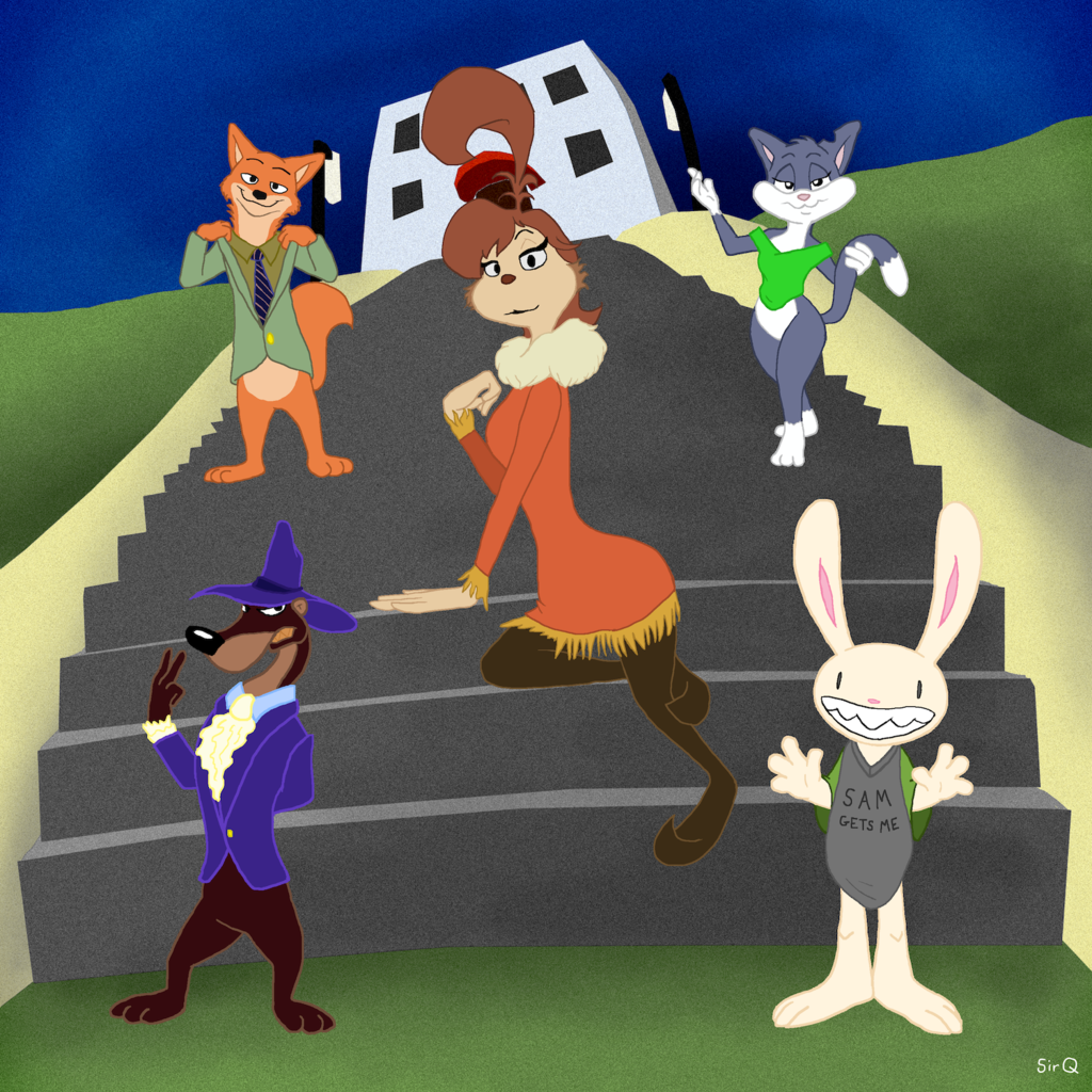 Five Toons On Some Stairs (or; Pants Optional)