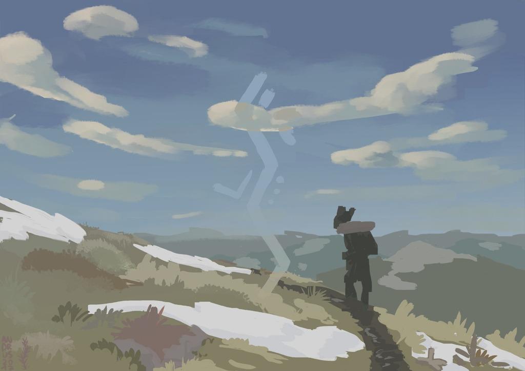 upward over the mountain