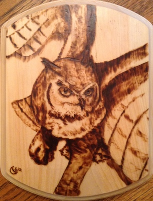 Most recent image: Great Horned Owl Pyrography