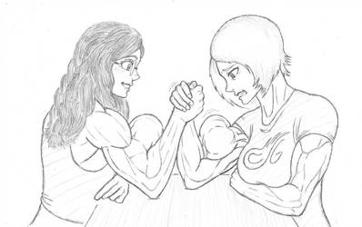 Comet Girl and Heather Arm Wrestling