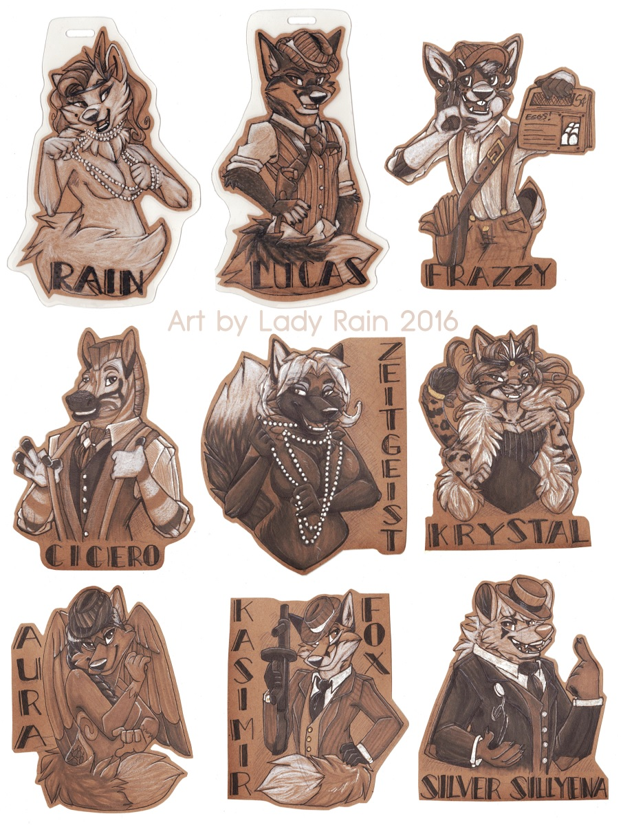 Anthrocon 20s themed badges