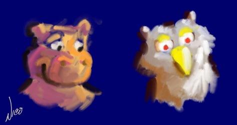 Hippo Owl sketches