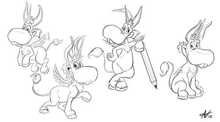 Happy! Commission Sketches 3