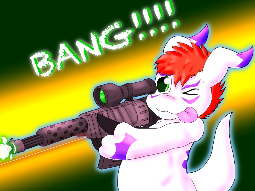 Gomamon with a rifle