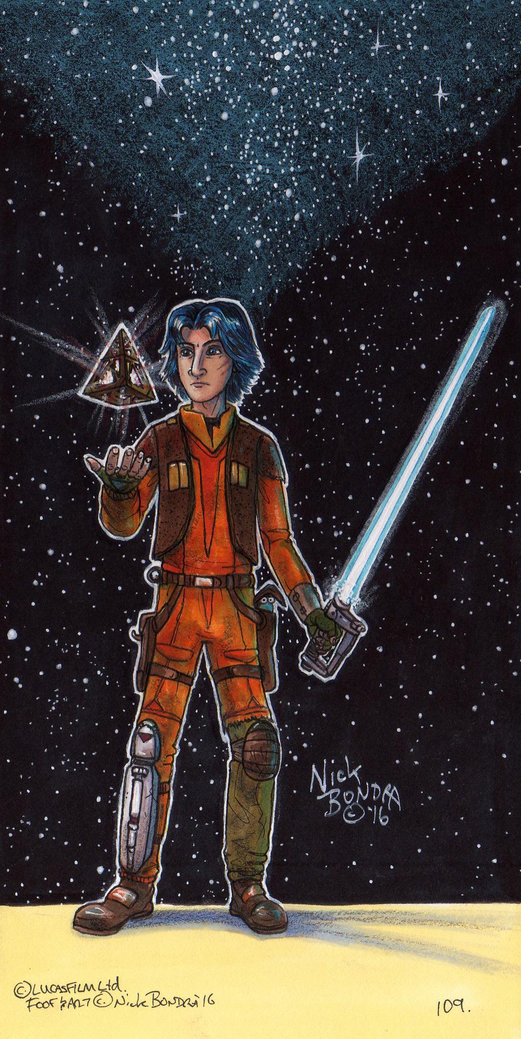 Ezra Bridger with Sith Holocron