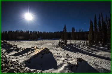 Bright Full Moon over Rio Grande National Forest Colorado