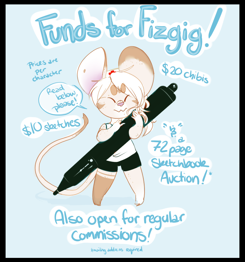 Funds for Fizgig! Sketchbook Auction & more!