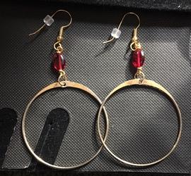 Red Gold Hoop Earrings
