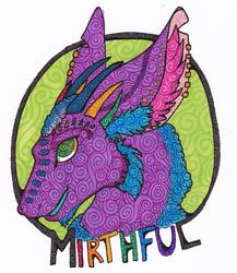 Stained Glass Style Headshot Badge: Mirthful