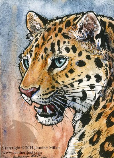 Amur Leopard Miniture Painting