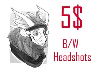 5$ b/w sketch headshots