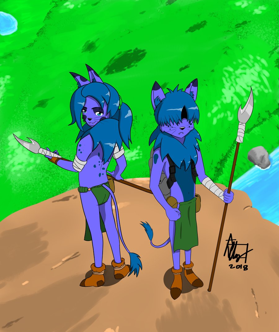 Two Anthro Cat Warriors