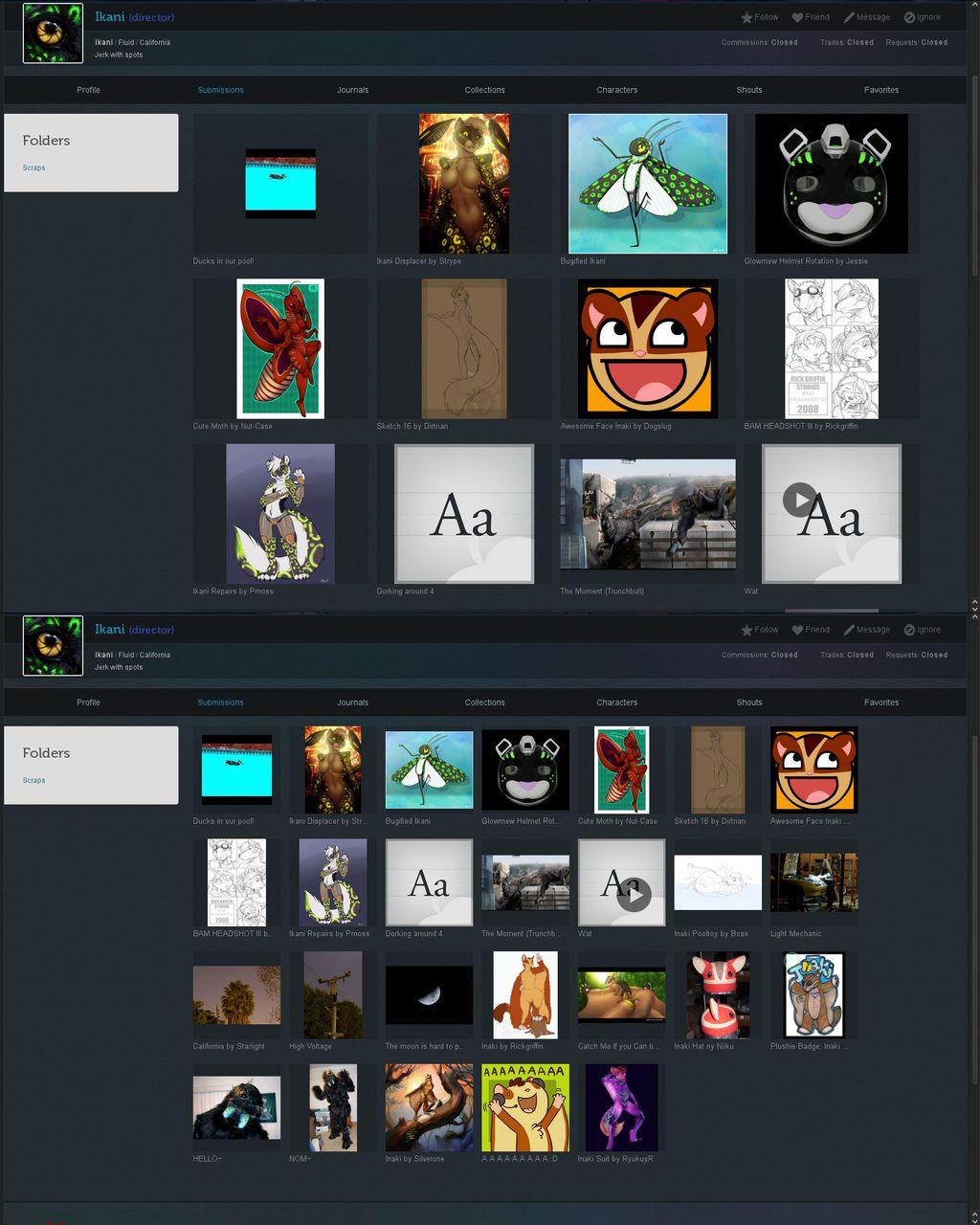 Custom Weasyl: Grid view thumbnails