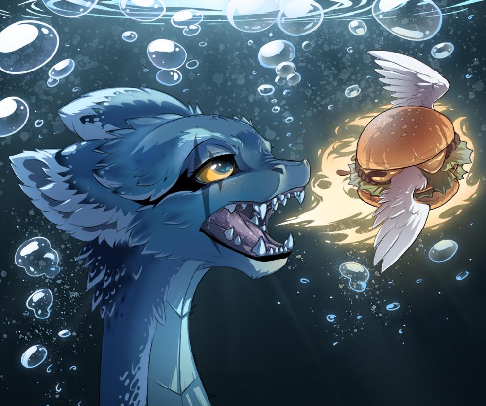 Dragon Eating Flaming Winged Underwater Burger