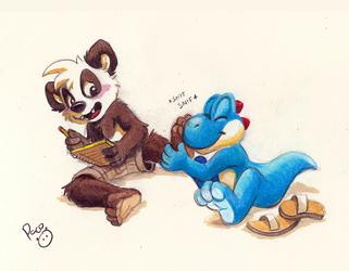 Yoshi sniffing panda paws