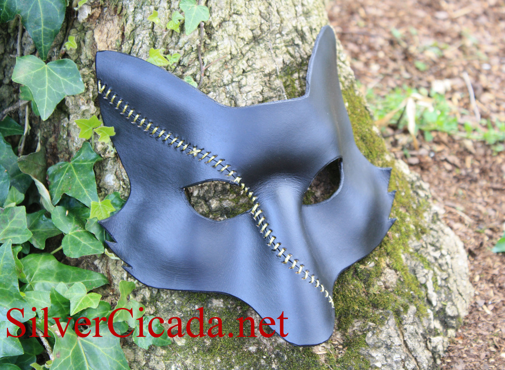 Leather Scar Fox in Black and Gold