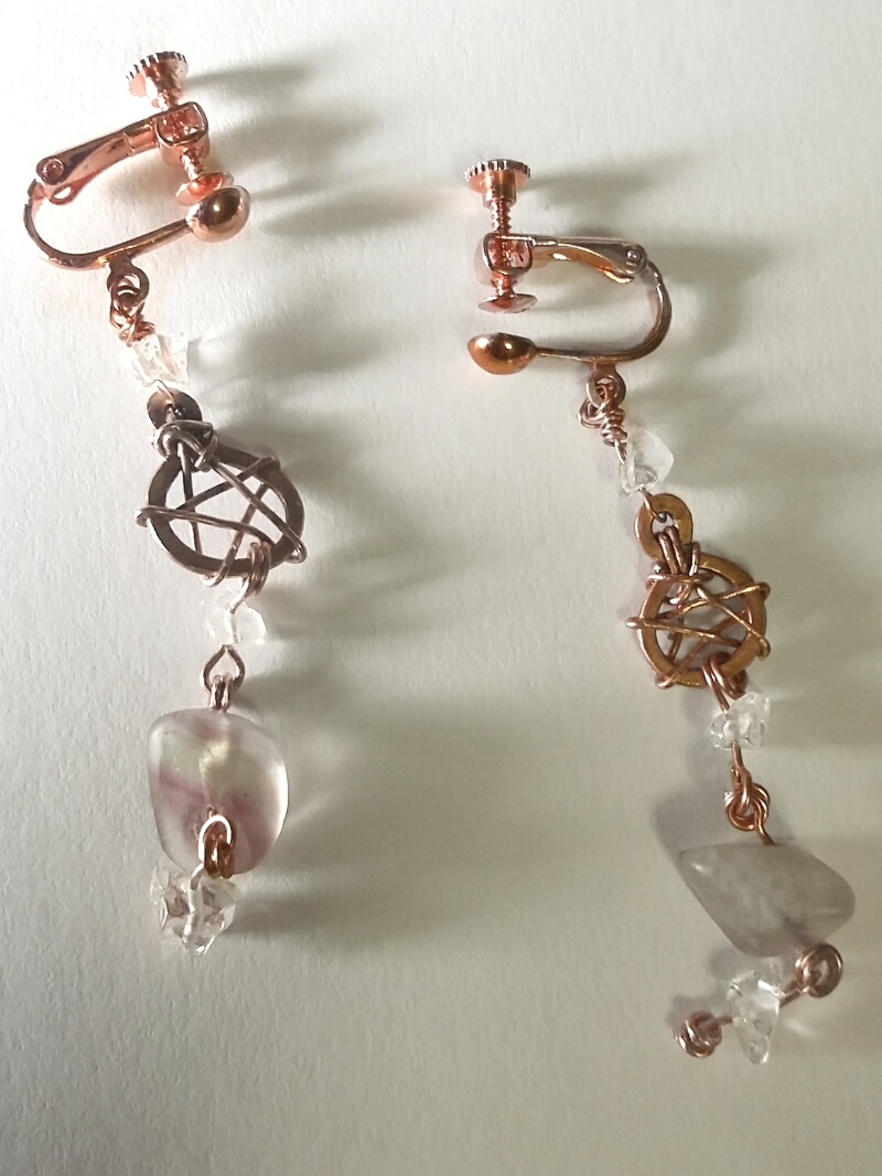 Crystal Pentacle Clip Earrings