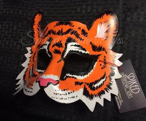 045. orange tiger leather mask