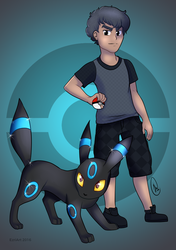 Trainer and His Umbreon