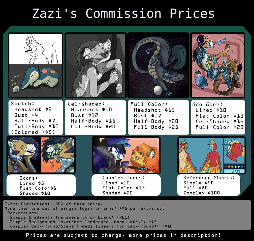 commission price sheet for 2016  new    u2014 weasyl